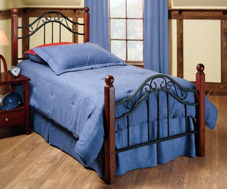 Madison Collection 1010BTW Twin Size Headboard and Footboard Set with Solid Wood Posts  Round Finials and Decorative Metal Scrollwork in Textured