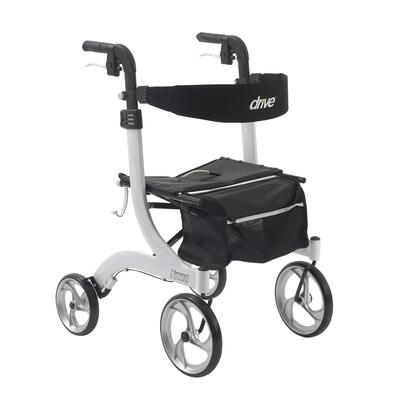 RTL10266WT Nitro Aluminum Rollator with 10 Front Casters  Back Support  Cross Base Design  Removable Zippered Storage Bag and Aluminum Frame in