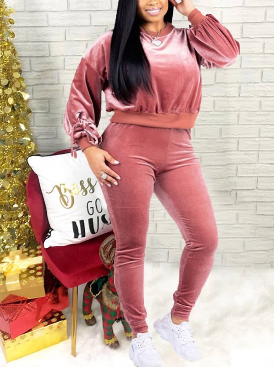 LW Lovely Casual O Neck Long Sleeve Pink Plus Size Two-piece Pants Set