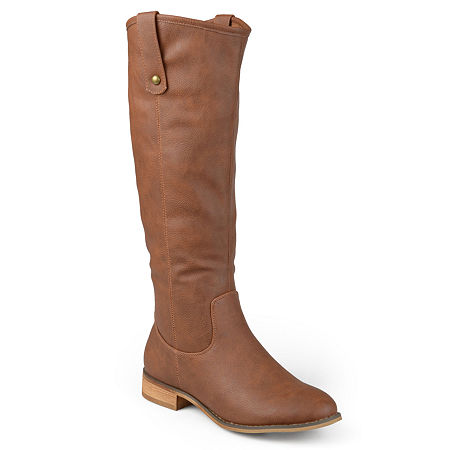 Journee Collection Womens Taven Wide Calf Riding Boot, 7 1/2 Medium, Brown