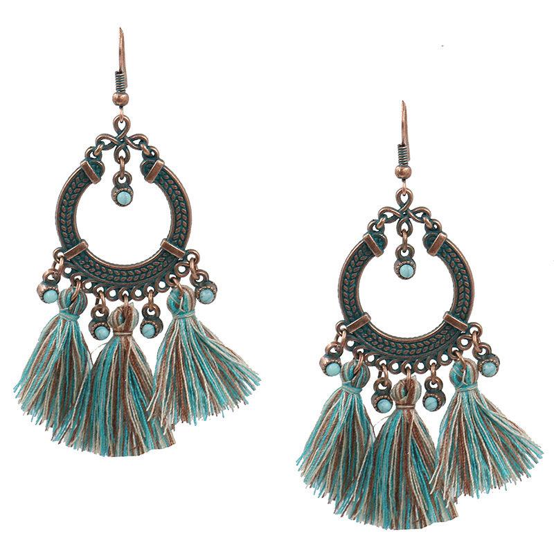 Vintage Circle Tassel Earrings Bohemian Geometric Drop Earrings Gift Jewelry for Women