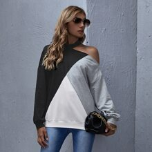 Asymmetrical Neck Colorblock Pullover