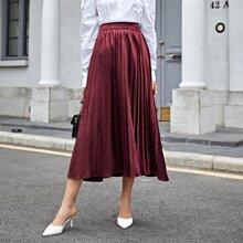 Pleated Elastic Waist Satin Skirt