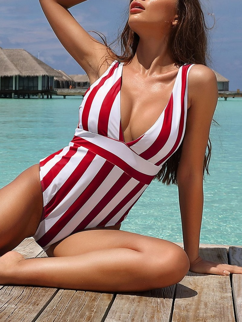 Ericdress Sexy One Piece Women's Stripe Swimwear