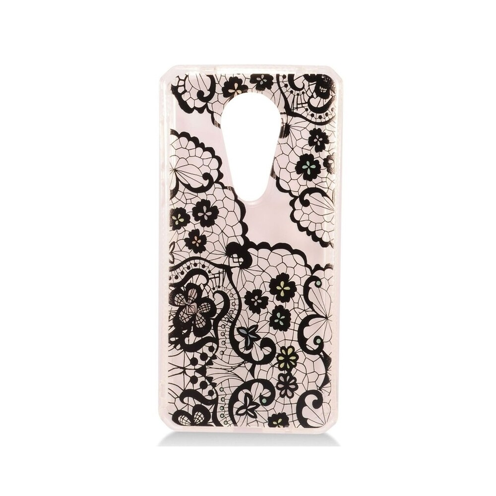 Insten Clear/Black Lace Style 3 TPU Rubber Candy Skin Case Cover Compatible With Motorola Moto E5 Plus/E5 Supra