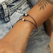 Faux Pearl Decor String Bracelet