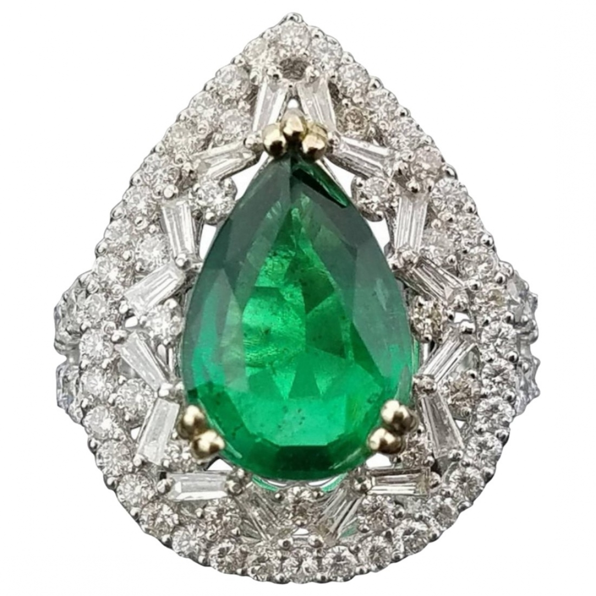 Non Signé / Unsigned Emeraude Green White gold ring for Women 52 MM