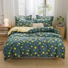 Bettwaesche Set mit Zitronen Muster ohne Fuelle
