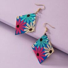Flower Pattern Geo Drop Earrings