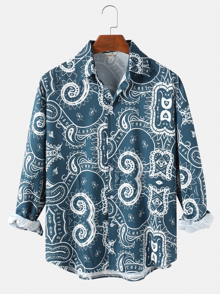 Mens Ethnic Tribal Print Loose Fit Casual Lapel Collar Long Sleeve Shirts
