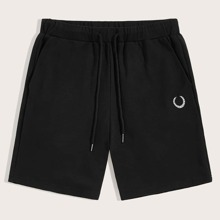 Guys Embroidered Detail Drawstring Waist Athletic Shorts