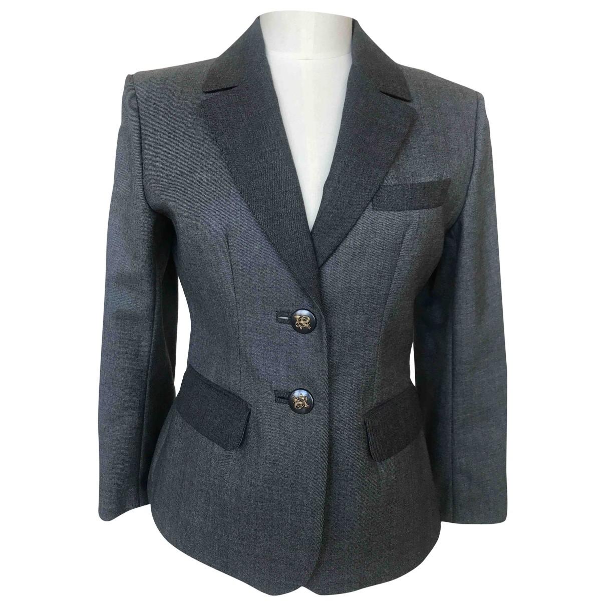 Hermes \N Jacke in  Grau Wolle