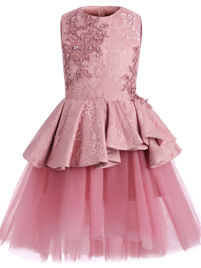 Ericdress Appliques Beaded Lace Flower Girl Dress