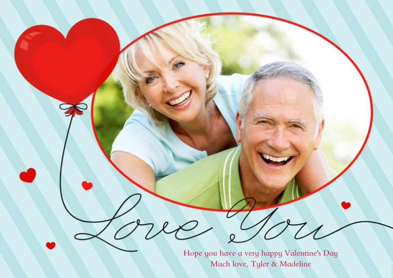 Valentines Cards Flat Glossy Photo Paper Cards with Envelopes, 5x7, Card & Stationery -Love You
