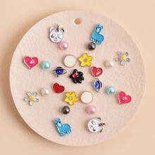 25pcs Heart & Faux Pearl Decor Earrings