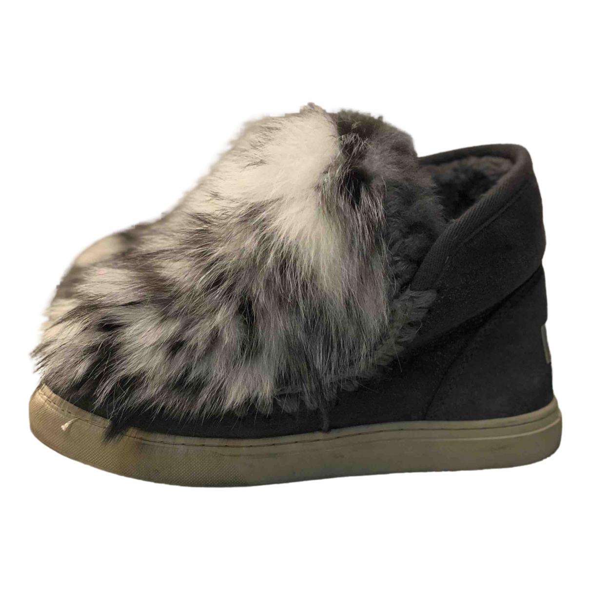 Mou N Grey Fur Trainers for Women 37 IT