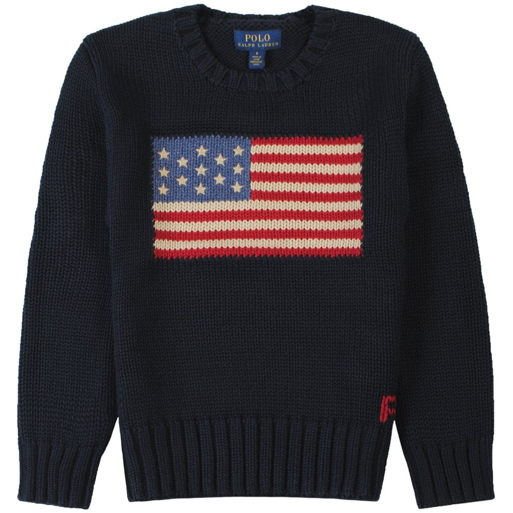 Ralph Lauren Kids American Flag Knitted Jumper Size: 7 YEARS, Colour: NAVY