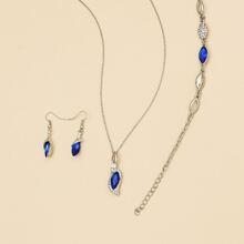 Gemstone Charm Necklace & Earrings & Bracelet