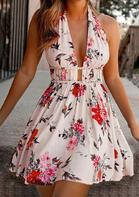 Floral Tie Halter Open Back Ruffled Mini Dress - Apricot