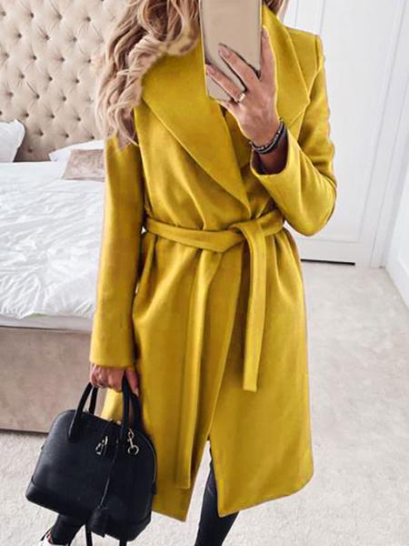 Milanoo Las mujeres del abrigo abrigos de cuello de cobertura de color caqui Escudo de manga larga de encaje hasta el invierno largo