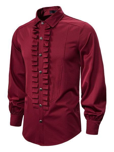 Milanoo Vintage White Victorian Shirt Men Ruffled Gothic Renaissance Medieval Shirt