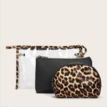 3 Stuecke Makeup Tasche mit Leopard Muster