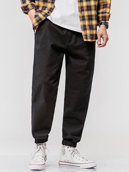 Milanoo Pants For Men Chic Natural Waist Straight Cargo Pant Green Men\'s Pants