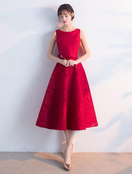 Milanoo Burgundy Prom Dresses 2020 Short Sleeveless Tea Length Cocktail Dress