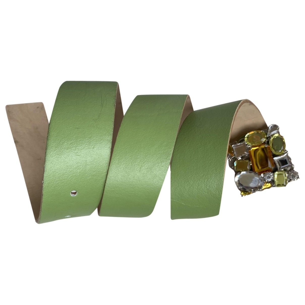 Non Signé / Unsigned \N Green Leather belt for Women 85 cm