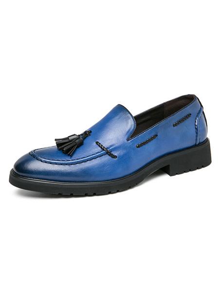 Milanoo Zapatos holgados para hombre, sin cordones, punta redonda, borlas verdes, zapatos de vestir de cuero PU, zapatos de fiesta