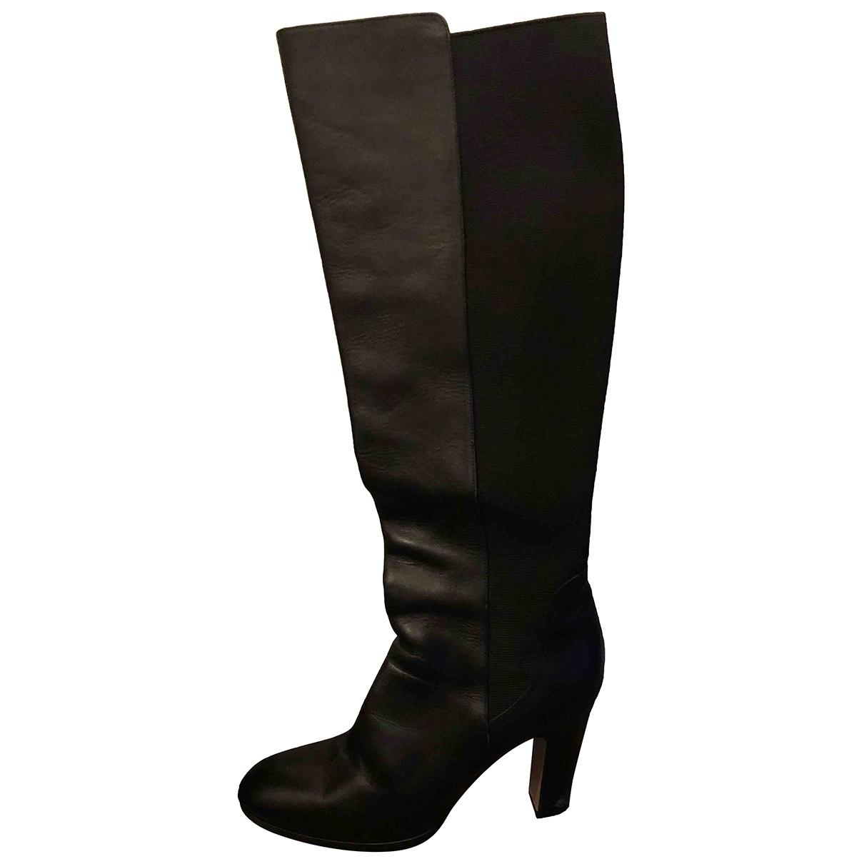 Max Mara - Bottes   pour femme en cuir - noir