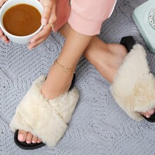 Plush Faux Fur Crisscross Slide Sandals