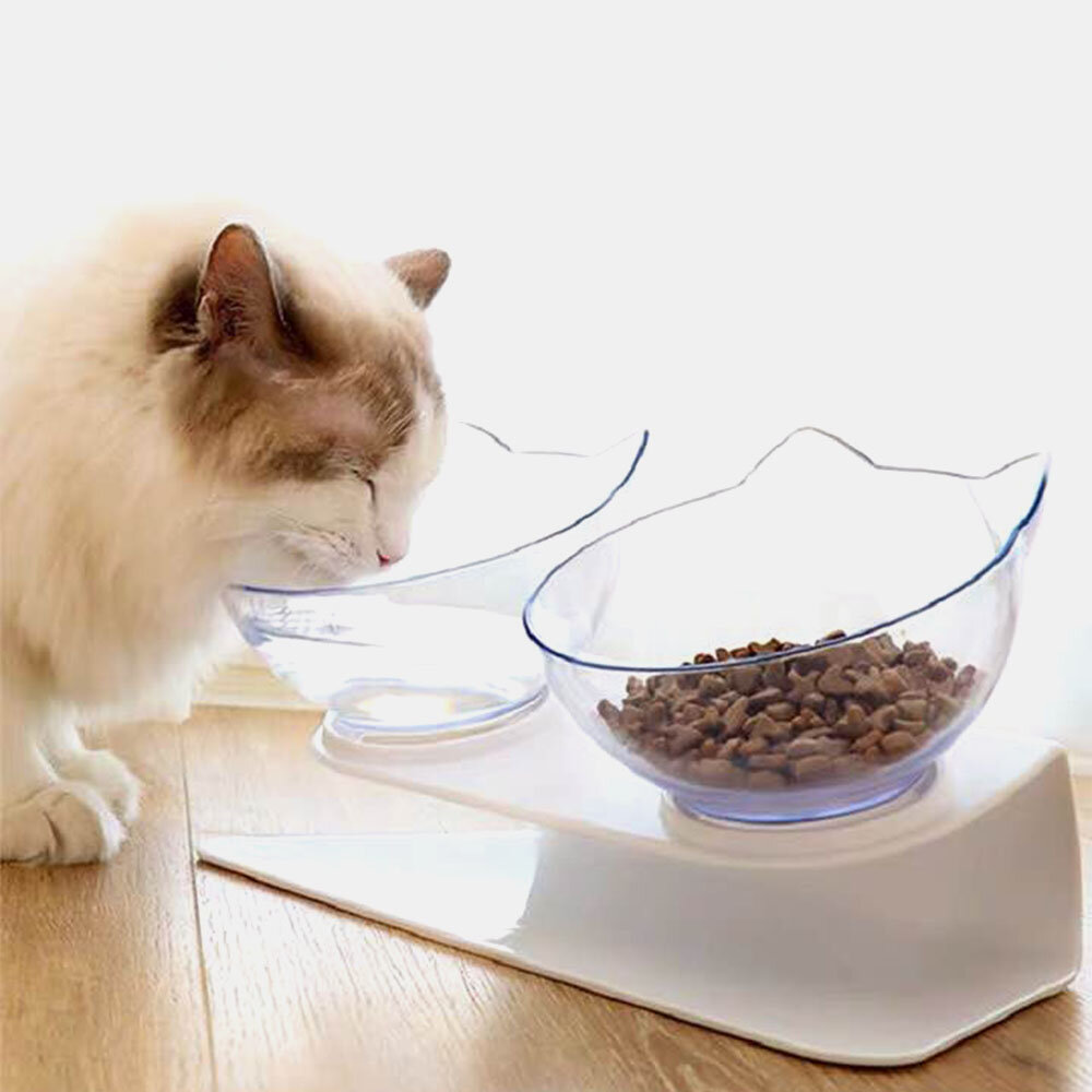 Double Cat Bowl with Raised Stand,15°Tilted Platform Cat Feeders Food and Water Bowls,Reduce Neck Pain for Cats and Smal