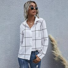 Grid Print Button Up Blouse