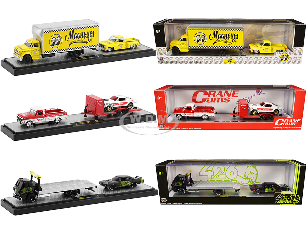 Auto Haulers Set of 3 Trucks Release 38 Limited Edition to 6000 pieces Worldwide 1/64 Diecast Models by M2 Machines