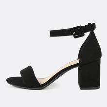 Nubuck Ankle Strap Block Heel Sandals