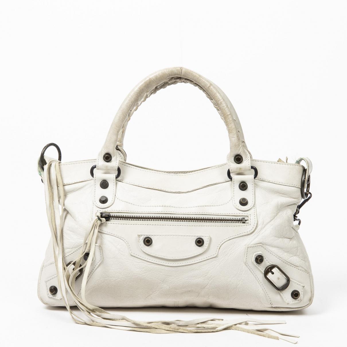 Balenciaga \N Handtasche in  Weiss Leder