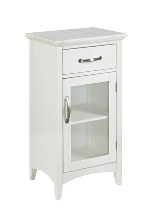 BM214984 1 Drawer Wooden Cabinet with Glass Door and Marble Top
