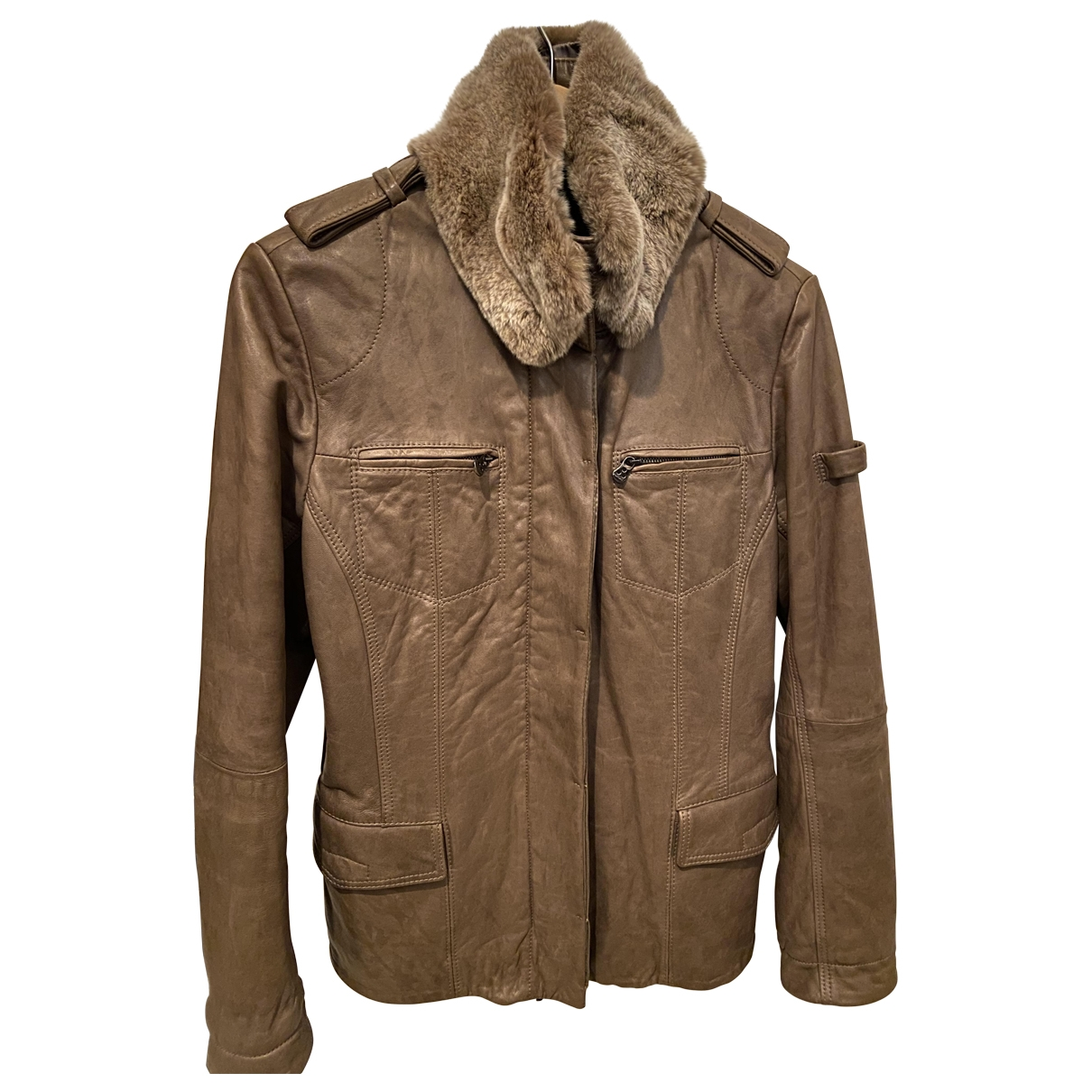 Peuterey \N Beige Leather Leather jacket for Women 42 FR