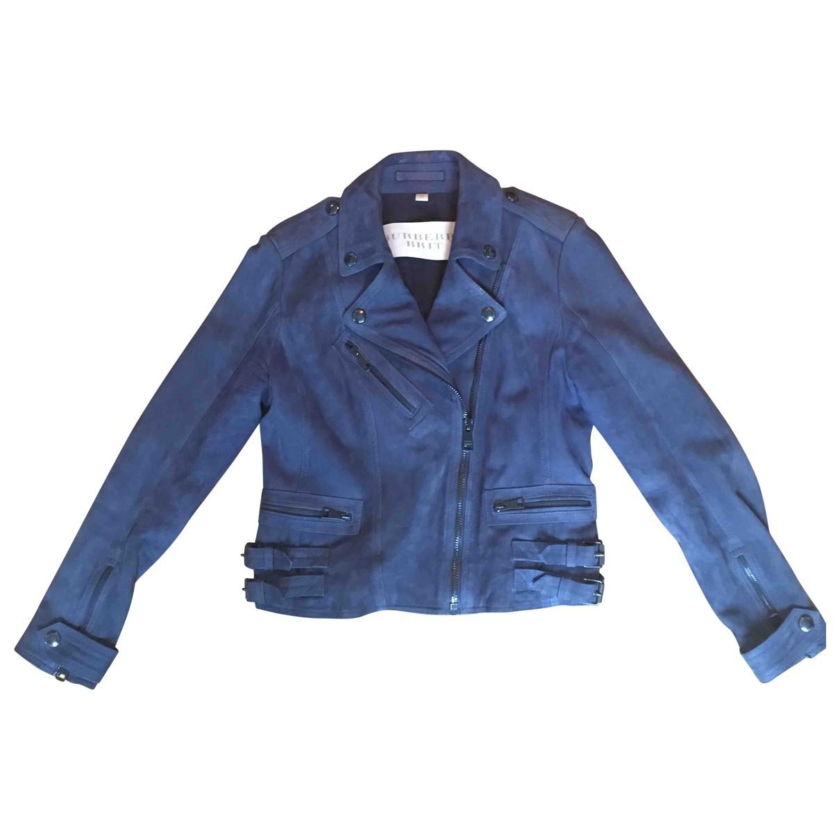 Burberry \N Lederjacke in  Blau Leder