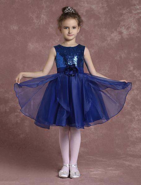 Milanoo Vestido para las damitas Azul brillante con escote estilo marinero con flor