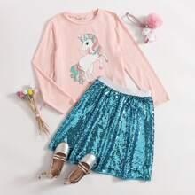 Girls Unicorn Print Top & Sequin Skirt Set