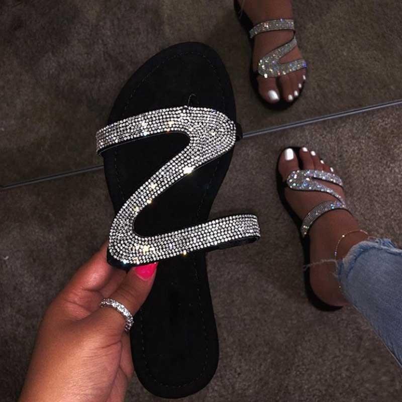 Ericdress Rhinestone Slip-On Block Heel Women's Flat Sandals