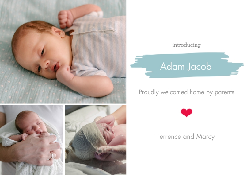 Newborn 5x7 Cards, Premium Cardstock 120lb, Card & Stationery -Painted Stripes - Blue