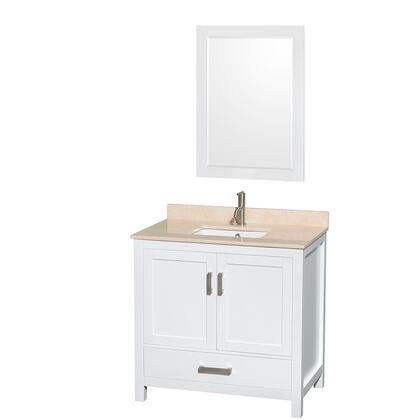 WCS141436SWHIVUNSM24 36 in. Single Bathroom Vanity in White  Ivory Marble Countertop  Undermount Square Sink  and 24 in.