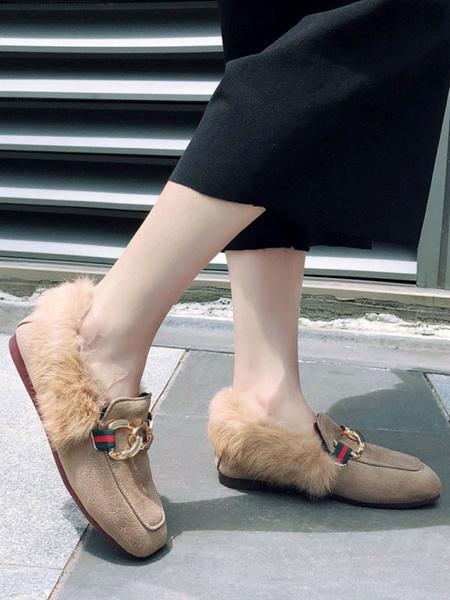 Milanoo Mocasines superiores de ante micro profundo de albaricoque Punta cuadrada Detalles de metal Zapatos casuales Zapatos de mujer