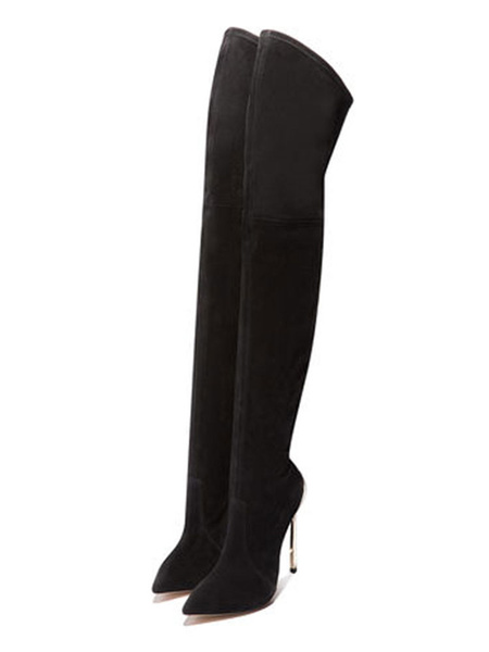 Milanoo Black Thigh High Boots Womens Elastic Fabric Pointed Toe Stiletto Heel Over The Knee Boots
