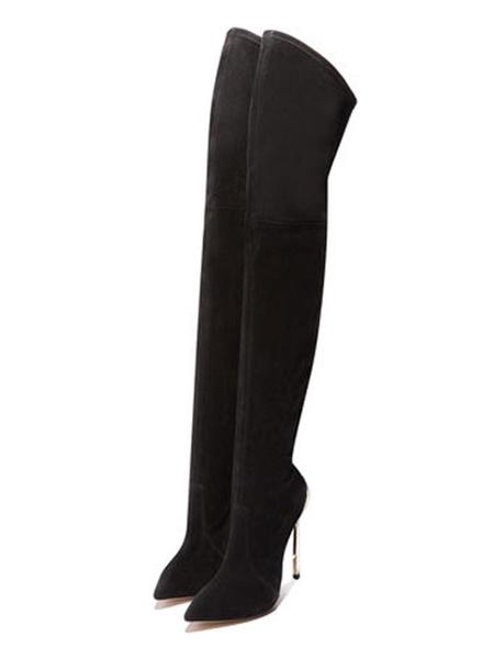 Milanoo Botas altas mujer negro  con pala de spandex de tacon de stiletto de puntera puntiaguada 12cm Color liso Invierno Primavera