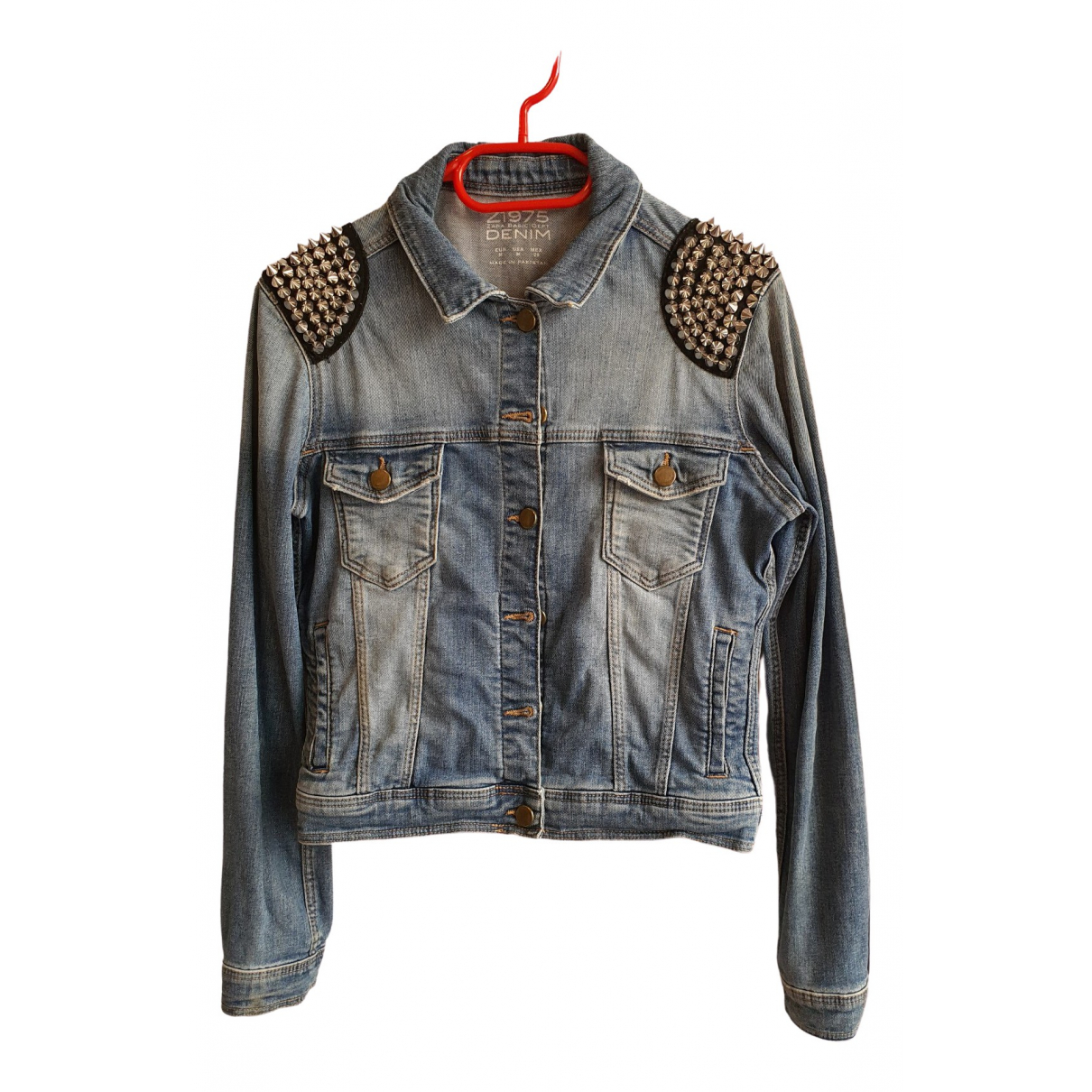 Zara \N Blue Denim - Jeans Leather jacket for Women M International