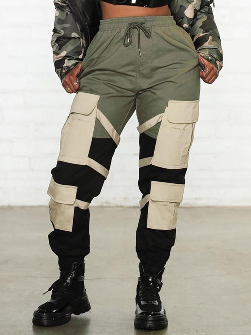 Ericdress Pocket Color Block Slim Women's Casual Pants